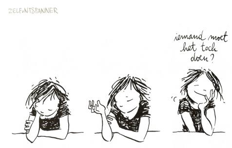 vrouwelijke ober cartoon